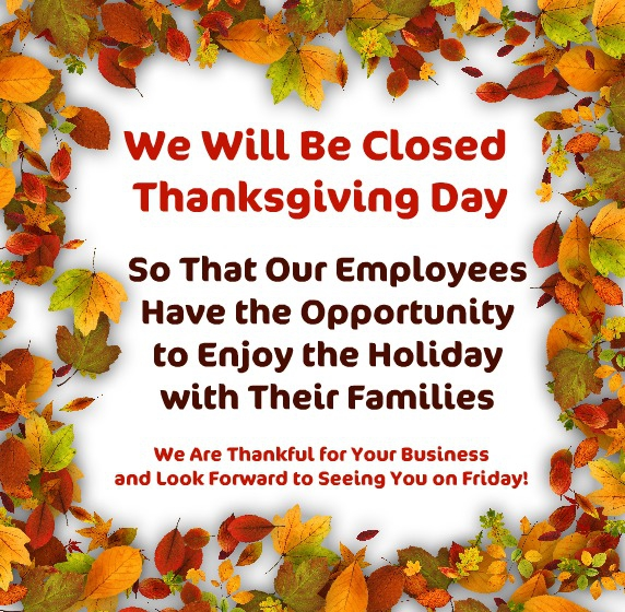 closed thanksgiving--open friday
