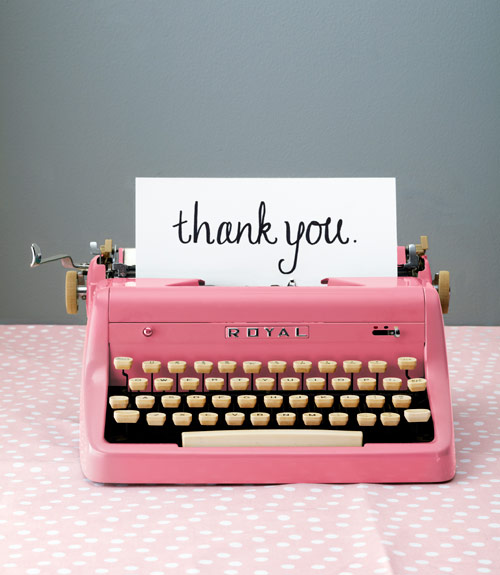 thank you pink typewriter