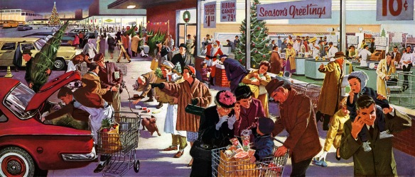 vintage christmas shoppers