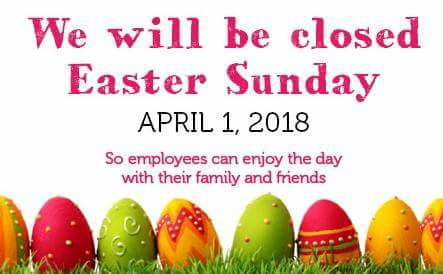 easter sunday closed 2018