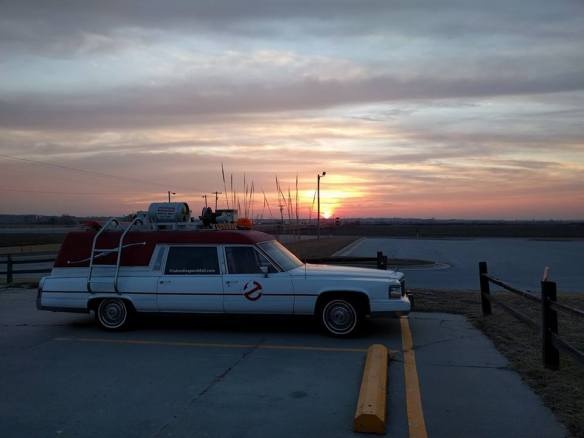 ghostbuster car at sunset