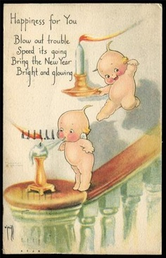 vintage new years card kewpies